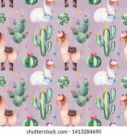 Pink seamless pattern with green watercolor cactus,succulents, multicolored flowers and cute llamas.Nature background.Perfect for your project,wedding,print,packaging design,wallpaper,pattern,texture.