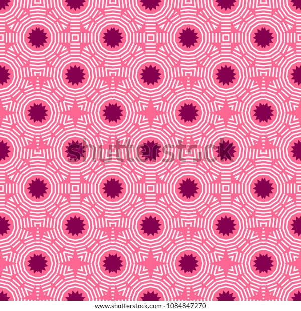 Pink seamless pattern with simple geometric ornate for brand, product, gift or card background
