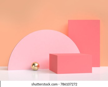 pink semicircle orange wall abstract blank background 3d rendering