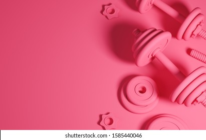 Pink set of heavy black professional dumbbells for fitness and bodybuilding on the table. Top view with copy space on the left side of the frame. 3d render illustration.