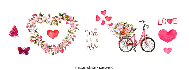 "Pink set for Valentines day - bicycle with flowers, hearts, butterflies, text ""Love is in the air"", floral frame with cherry, apple flowers . Watercolor for Valentine day"