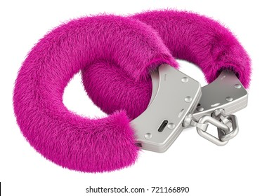 pink sexy fluffy handcuffs closeup, 3D rendering isolated on white background