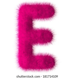 Pink shag E letter isolated on white background