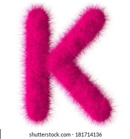 Pink shag K letter isolated on white background