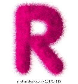 Pink shag R letter isolated on white background