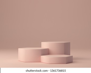 Pink shapes on pastel colors abstract background. Minimal hexagonal boxes podium. Scene with geometrical forms. Empty showcase for cosmetic product presentation. Fashion magazine. 3d render.