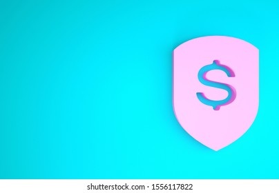 Pink Shield and dollar icon isolated on blue background. Security shield protection. Money security concept. Minimalism concept. 3d illustration 3D render