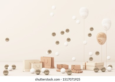 Pink shopping bag surrounding by a lot of giftboxs and balloons. 3d rendering
