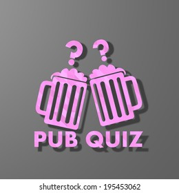 pink sign low poly of creative pub quiz isolated on trendy grey background
