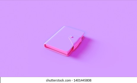 Pink Small Notebook with Clasp Closed 3d illustration 3d render