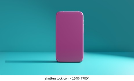 Pink smartphone mockup with blank screen on a green-blue background. 3D rendering