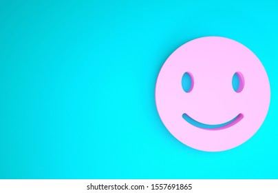 Pink Smile face icon isolated on blue background. Smiling emoticon. Happy smiley chat symbol. Minimalism concept. 3d illustration 3D render