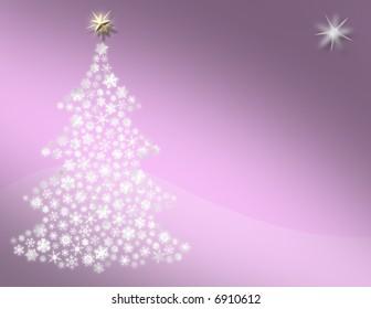 Pink Snowflake Tree Scene