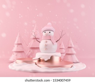 Pink Snowman standing on Christmas background, 3d rendering scene podium display with Xmas tree.