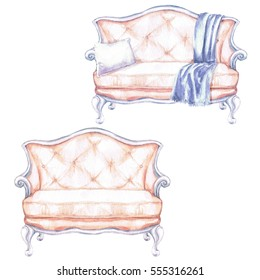 Pink Sofa with and without throw blanket - Watercolor Illustration.