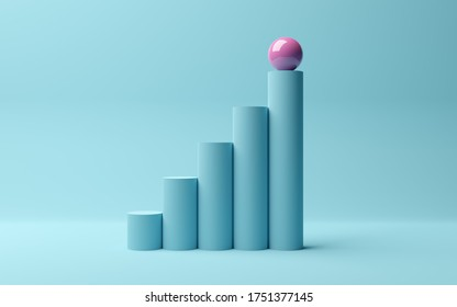 Pink sphere on rising bar graph of cylinders on blue background, abstract modern minimal success, growth, progress or achievement concept, 3D illustration