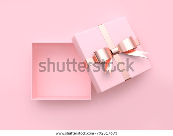 pink square gift box open metallic bow-ribbon valentine concept 3d rendering