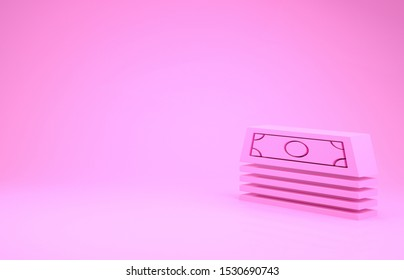 Pink Stacks paper money cash icon isolated on pink background. Money banknotes stacks. Bill currency. Minimalism concept. 3d illustration 3D render