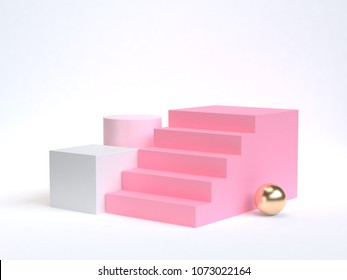 pink staircase-stairway 3d rendering white background gold sphere