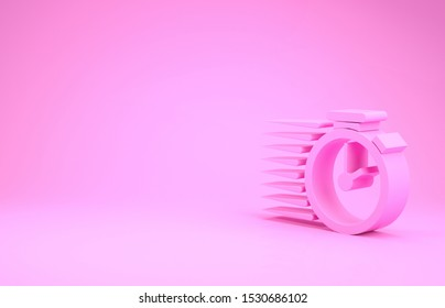 Pink Stopwatch icon isolated on pink background. Time timer sign. Minimalism concept. 3d illustration 3D render