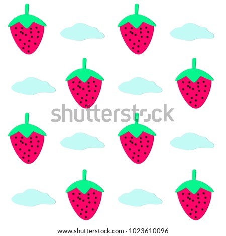 Pink Strawberries With Blue Clouds On White Background Can Use For Wallpaper