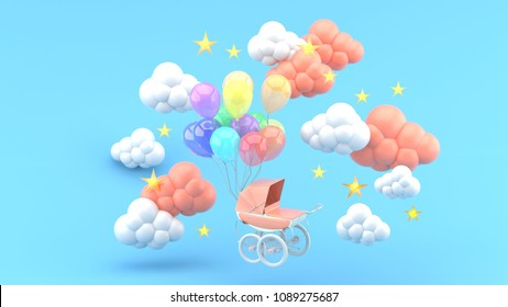 Pink Stroller and floating balloons surrounded by clouds and stars on a blue background.-3d render.