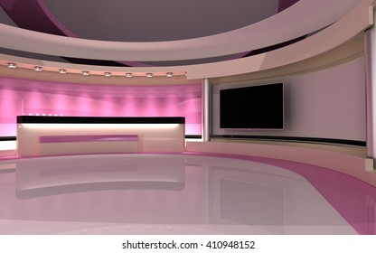 Pink studio, Tv Studio. News studio. The perfect backdrop for any green screen or chroma key video or photo production. 3d render. 3d visualisation