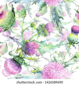 Pink thistle floral botanical flowers. Wild spring leaf wildflower. Watercolor illustration set. Watercolour drawing fashion aquarelle. Seamless background pattern. Fabric wallpaper print texture.