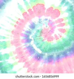 Pink Tie Die Round. Rainbow Hippie Textile. Yellow Bohemian Background. Grunge Color Design. 1970s Style. Tye Die Swirl. Pastel Hippie Texture. Abstract Dyed Fabric. Colorful Tie Dye Round.