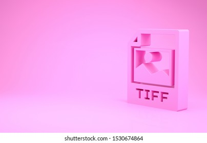 Pink TIFF file document. Download tiff button icon isolated on pink background. TIFF file symbol. Minimalism concept. 3d illustration 3D render