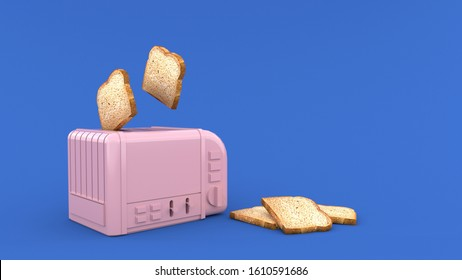 Pink toaster With the Whole wheat bread bouncing up and the Whole wheat bread on the side Pink toaster, Isolated on blue Background, illustration, 3D rendering.