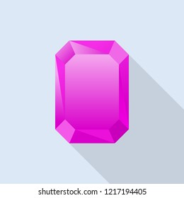 Pink tourmaline icon. Flat illustration of pink tourmaline icon for web design