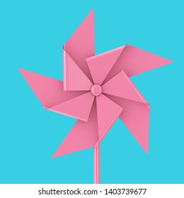 Pink Toy Pinwheel Windmill on a blue background 3d Rendering