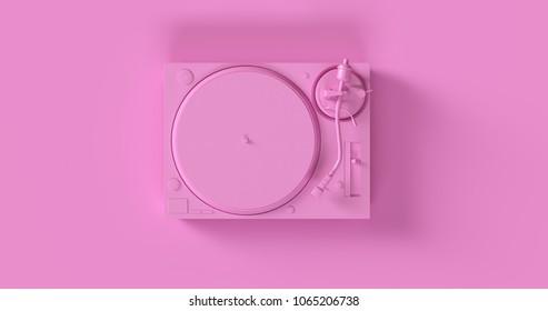 Pink Turntable 3d illustration