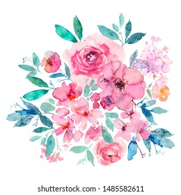Pink Turquoise Blue Green Watercolor Floral Arrangements Isolated on White Background