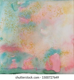 Pink and turquoise watercolor background, watercolor wash, paper texture, abstraction. Drawn by hand in watercolor. Suitable for all types of design.