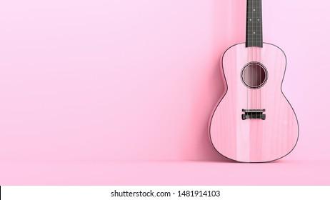 Pink Ukulele, Minimal idea concept on pink background. 3D Render.