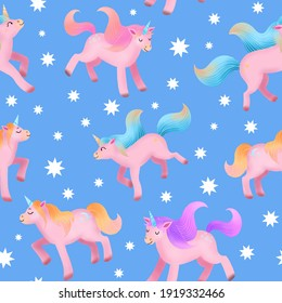 Pink Unicorns seamless pattern on blue background. Cute illustration for kids. Fantasy animals for wrapping paper, wallpaper, textile, fabric, print.