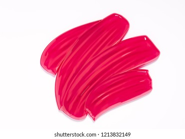 Pink vector lipstick smear. Female girly logo. Paint brush stroke isolated on white, abstract liquid cosmetic texture. 3d rendering