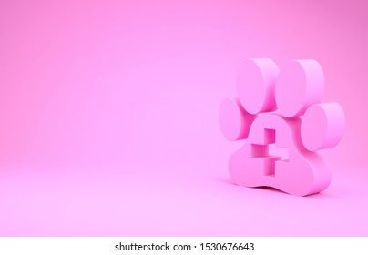 Pink Veterinary clinic symbol icon isolated on pink background. Cross hospital sign. A stylized paw print dog or cat. Pet First Aid sign. Minimalism concept. 3d illustration 3D render