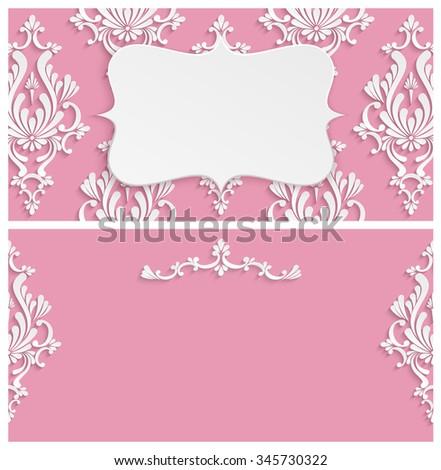 pink vintage background 3 d floral damask stock illustration