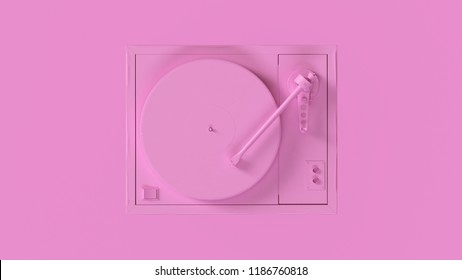 Pink Vintage Turntable Record Player 3d illustration 3d render