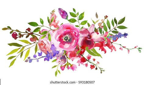 Pink Violet Flowers Watercolor Landscape  Bouquet Isolated on White Background