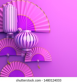 Pink violet pastel chinese paper fan, lampion lantern. Design creative concept of chinese festival celebration gong xi fa cai. 3D rendering illustration.