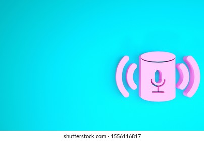 Pink Voice assistant icon isolated on blue background. Voice control user interface smart speaker. Minimalism concept. 3d illustration 3D render