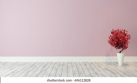 pink wall background with red plant in the room decoration idea 3d rendering by Sedat SEVEN