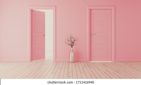 Pink wall with pink opened door and closed door, white wooden floor, chrome vase and dry plant realistic 3D rendering