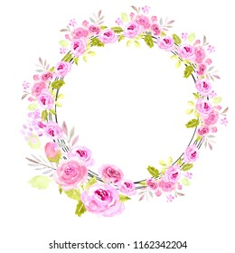 Pink watercolor floral wreath round illustration. Rose, peony flowers. Wedding, greeting card, spring, love, romantic. Leaves, buds. Beautiful. Easter, Valentines day, borthday, baby shower