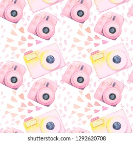 Pink watercolor lomo cams with confetti seammless pattern isolated on white background.