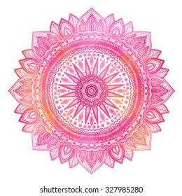 Pink watercolor mandala, indian motif. Ornate round ornament.